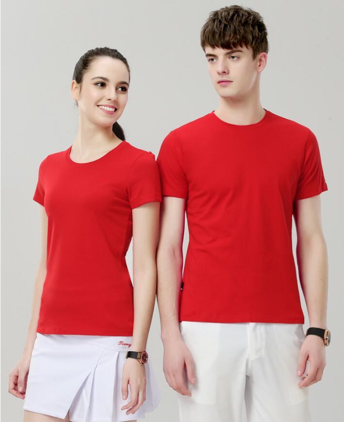 昆明T恤定制180克精梳棉短袖T恤衫圆领可以定做logo图片155-185身高穿