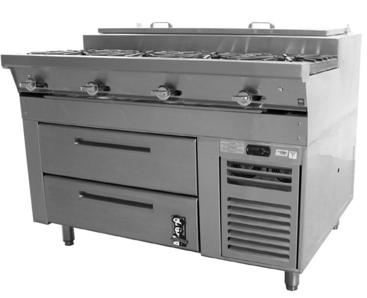 重型乙二醇制冷式冷藏燃气煎炒灶台