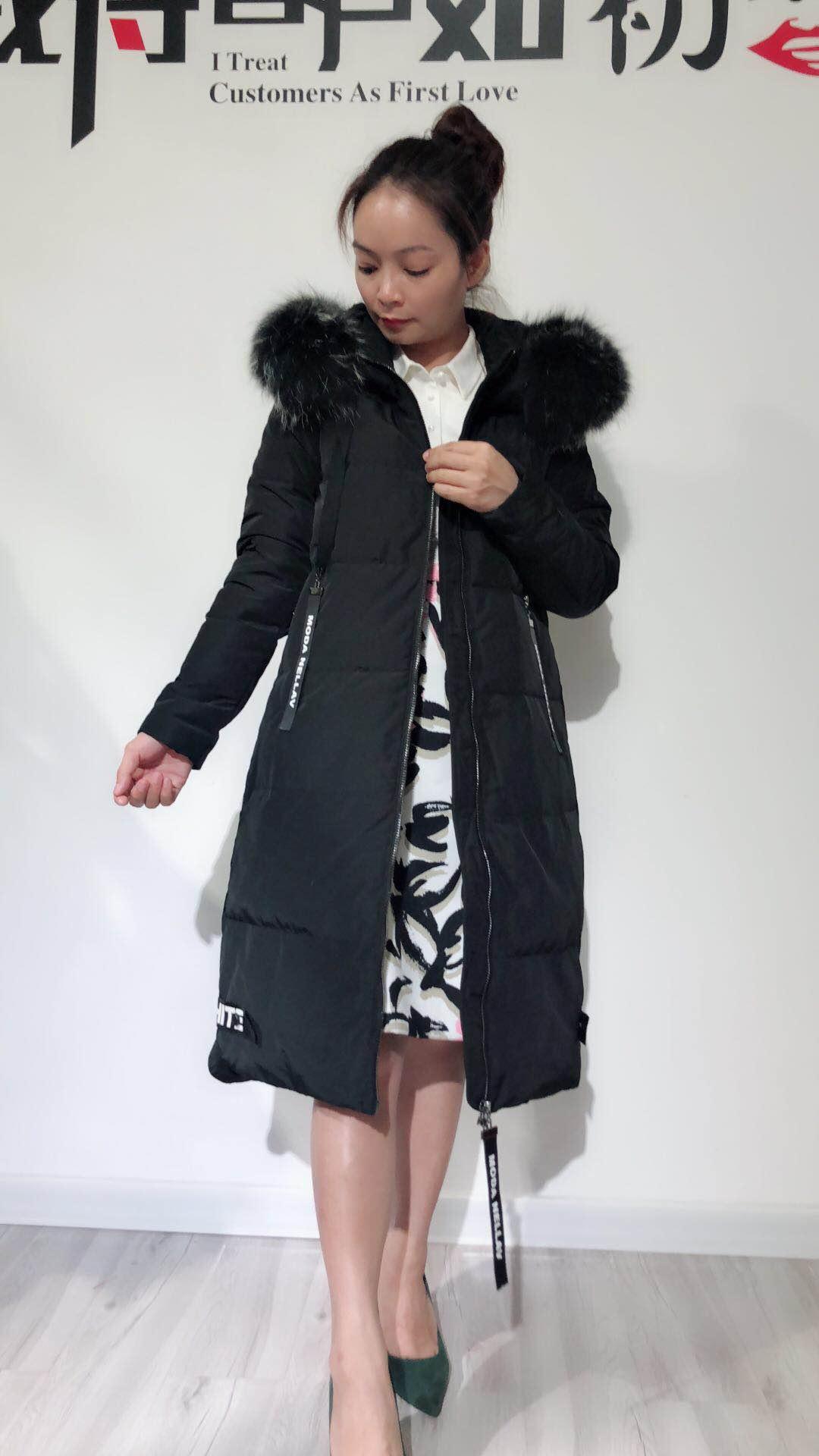 供应欧版高档时尚带大毛领貉子毛羽绒服广西大码女装外套批发