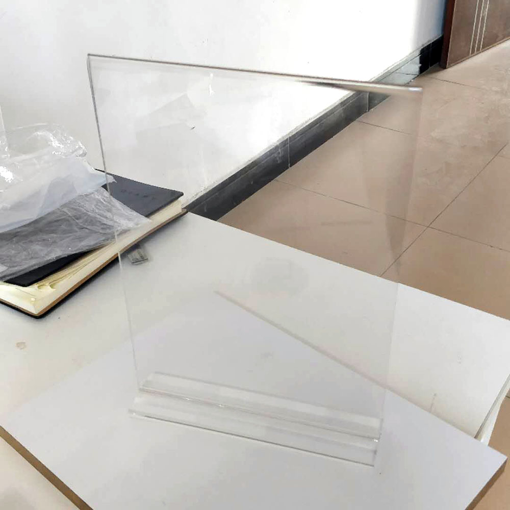 皓德有机办公用品亚克力双抽拉式面台卡台签桌牌