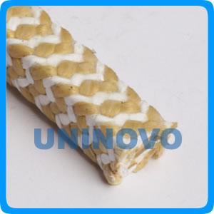 芳纶交织白四氟盘根(斑马纹混编)、邦Kevlar纤维四氟