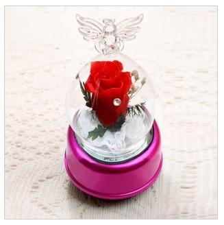 天使瓶保鲜玫瑰旋转发光音乐盒